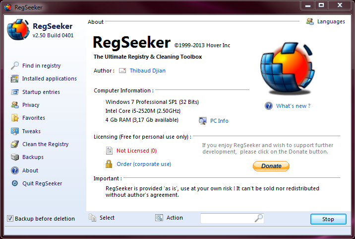 RegSeeker full screenshot